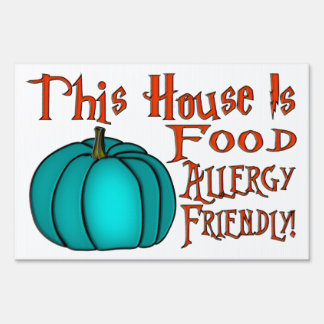 This House Is Food Allergy Friendly-Teal Pumpkin 2 Lawn Sign