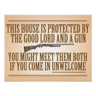 This House Is Protected By The Good Lord And A Gun Poster