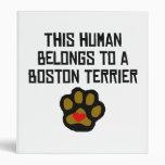 This Human Belongs To A Boston Terrier 3 Ring Binders