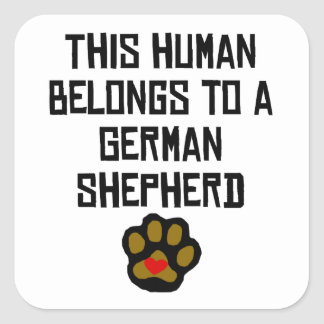 This Human Belongs To A German Shepherd Square Sticker