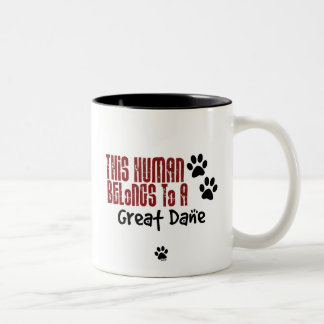 This Human Belongs to a Great Dane Two-Tone Coffee Mug