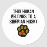 This Human Belongs To A Siberian Husky Round Stickers
