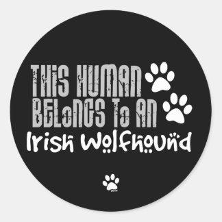 This Human Belongs to an Irish Wolfhound Classic Round Sticker