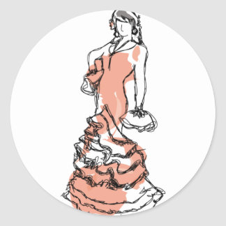 This illustration represents a woman Andalusian Classic Round Sticker