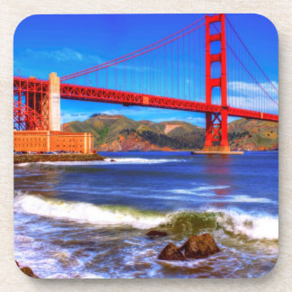 This is a 3 shot HDR image of the Golden Gate Beverage Coaster