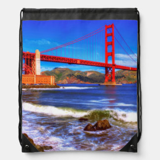 This is a 3 shot HDR image of the Golden Gate Drawstring Backpacks