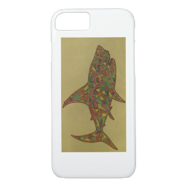 Beach Themed This is a Hand Drawn Piece, its a Shark. iPhone 7 Case