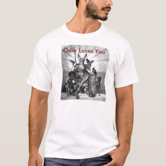 This is a white t-shirt with Odin on it.