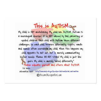 This is Autism Handout Cards Large Business Card