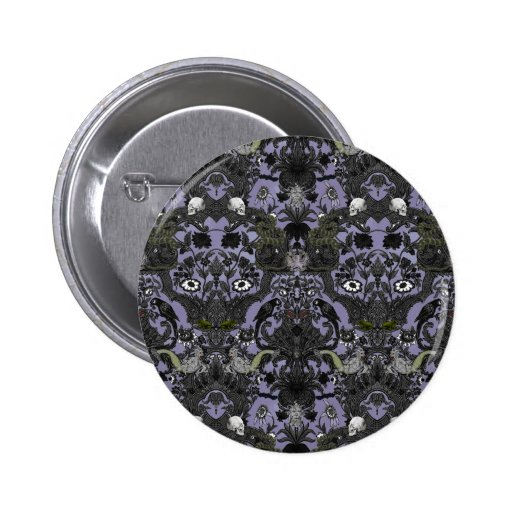 This Is Halloween ~ Haunted Damask Pinback Button