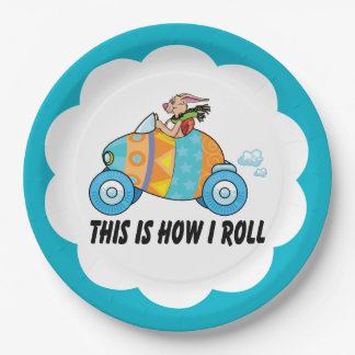 This is How I Roll Easter Bunny Car Paper Plate