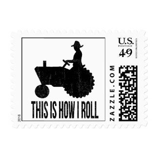 This is How I Roll Farmer on Tractor Postage Stamp