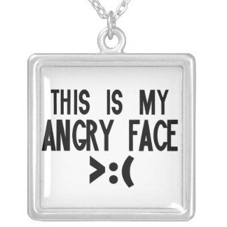 This is my Angry Face Square Pendant Necklace