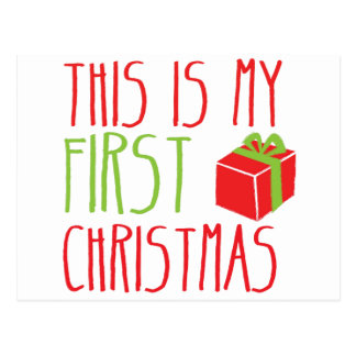 This is my FIRST Christmas newborn baby Xmas Postcard