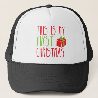 This is my FIRST Christmas newborn baby Xmas Trucker Hat