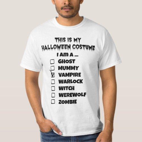 This is My Halloween Costume - Check Mark Vampire T-Shirt