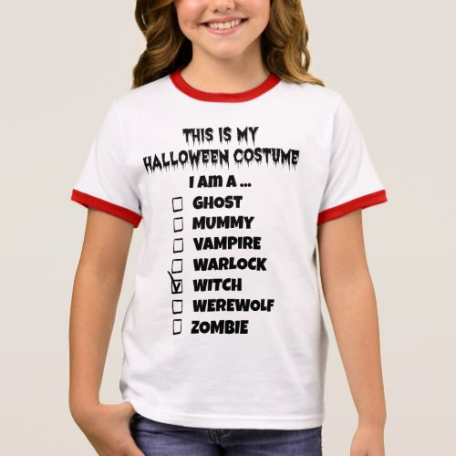 This is My Halloween Costume - Check Mark Witch Ringer T-Shirt