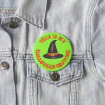 This is My Halloween Costume Green Black Witch Hat Button