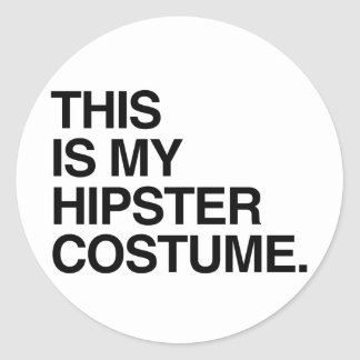 THIS IS MY HIPSTER COSTUME CLASSIC ROUND STICKER