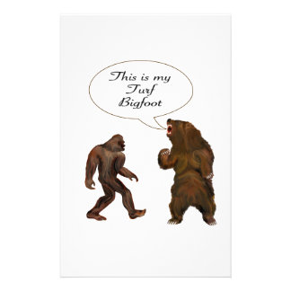 This is-my Turf Bigfoot and Grizzly Painting Gifts Stationery