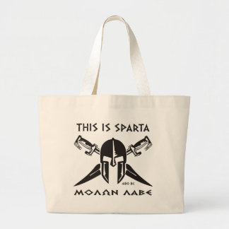 This is Sparta - Molon Lave - Black Canvas Bags