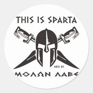 This is Sparta - Molon Lave - Black Classic Round Sticker