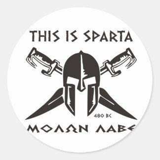 This is Sparta - Molon lave (black) Classic Round Sticker