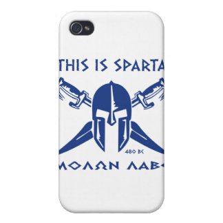 This is Sparta - Molon Lave - Blue Cover For iPhone 4