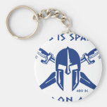 This is Sparta - Molon Lave - Blue Basic Round Button Keychain