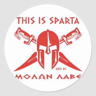 This is Sparta - Molon Lave - Red Classic Round Sticker