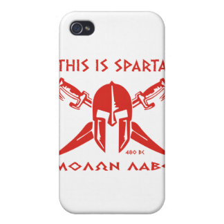 This is Sparta - Molon Lave - Red Cover For iPhone 4