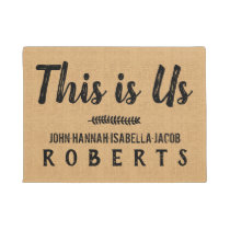 This is Us Burlap Farmhouse Feedsack Personalized Doormat