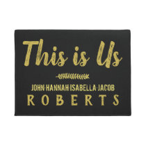 This is Us Classy Black Gold Brushstroke Custom Doormat