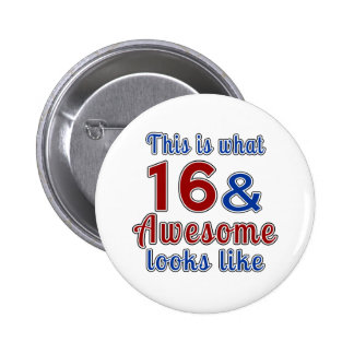 This is what 16 and awesome look like pinback button
