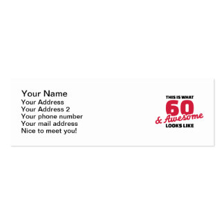 This is what 60 years and awesome looks like Double-Sided mini business cards (Pack of 20)