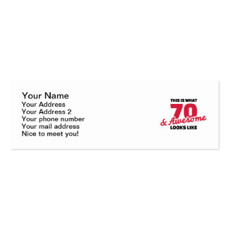 This is what 70 years and awesome looks like Double-Sided mini business cards (Pack of 20)