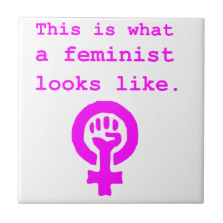 This is what a feminist looks like. small square tile