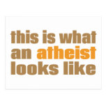 This is what an atheist looks like postcard