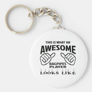 This is what an awesome Bagpipes player looks like Basic Round Button Keychain