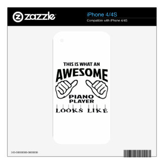 This is what an awesome Piano player looks like Skin For The iPhone 4
