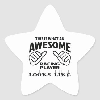 This is what an awesome Racing player looks like Star Sticker