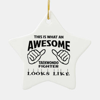 This is what an awesome Taekwondo Fighter looks li Ceramic Ornament