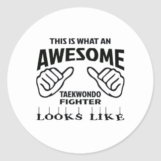 This is what an awesome Taekwondo Fighter looks li Classic Round Sticker