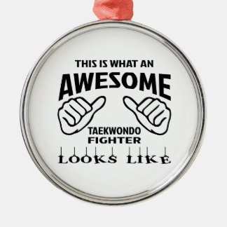 This is what an awesome Taekwondo Fighter looks li Metal Ornament