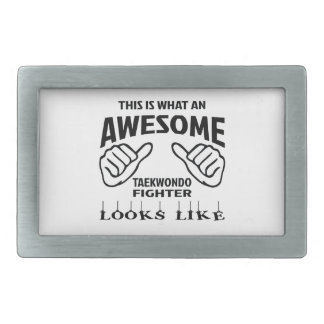 This is what an awesome Taekwondo Fighter looks li Rectangular Belt Buckle