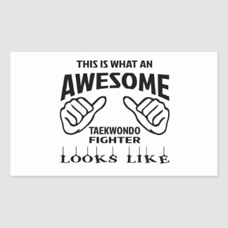 This is what an awesome Taekwondo Fighter looks li Rectangular Sticker