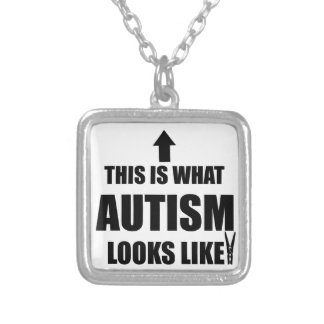 This is what autism looks like! square pendant necklace
