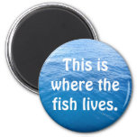 This is where the fish lives. fridge magnet