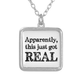 This Just Got Real Square Pendant Necklace