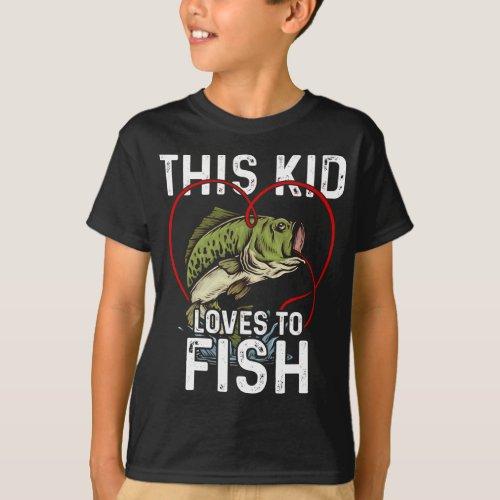 This Kid Loves to Fish Fishing Children Fisherman T_Shirt